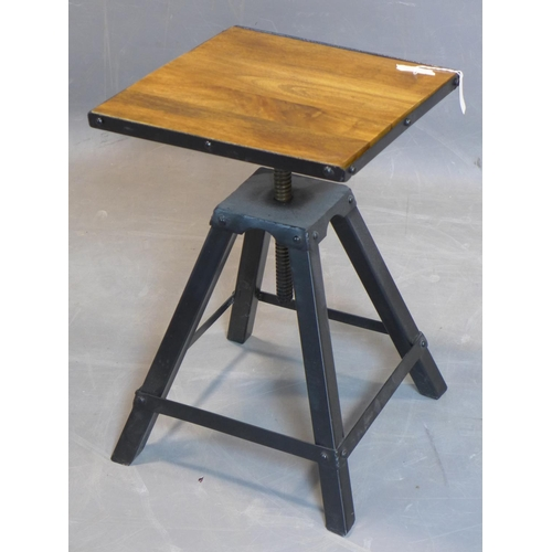 116 - An adjustable style lamp table with square hardwood top, on four splayed legs, H.56 W.37 D.37cm...