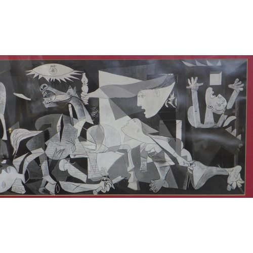 126 - After Pablo Picasso, 'Guernica', print, in black frame, 36 x 81cm...