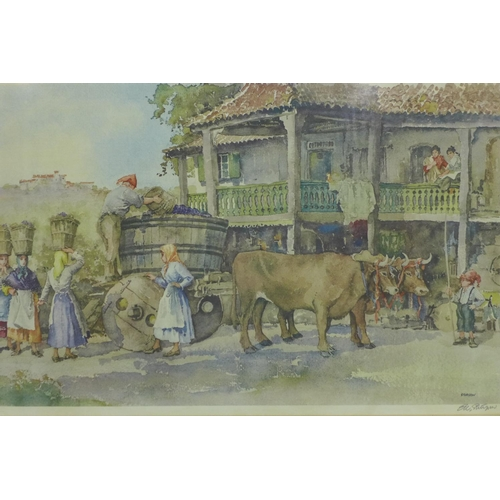 135 - Eric Richard Sturgeon (1920-1999), 'The Grape Harvest', signed in pencil, a colour reproduction, wit...