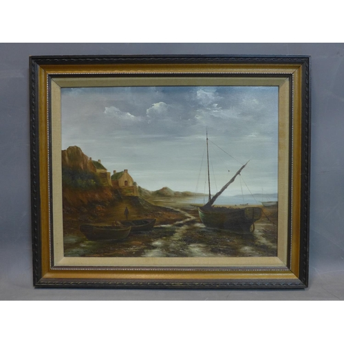 137 - Lionel Winston (20th century British), Seaside landscape, oil on canvas, signed at the back, framed,...