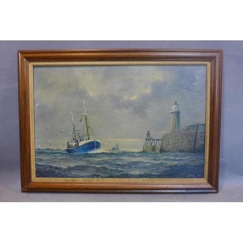 138 - Jack Rigg (British, 1927 -), 'The return', oil on canvas, framed, 65 x 90cm...