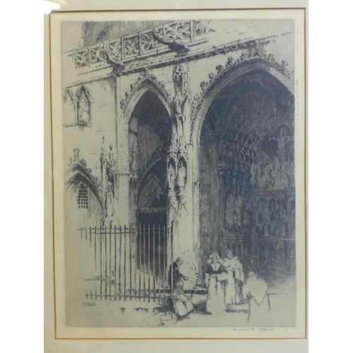 140 - Andrew Fairbairn Affleck, (1874 - 1935), Gothic Cathedral, etching, signed, framed and glazed, 54 x ...