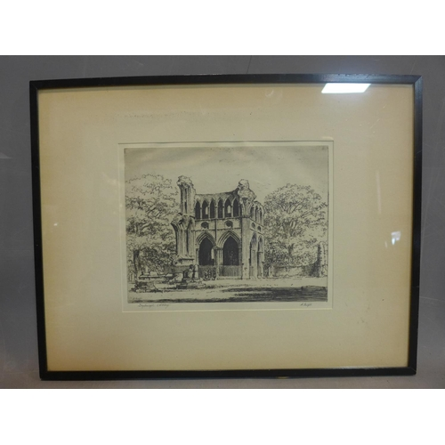 141 - 19th century Scottish school, Dryburgh Abbey, Scotland, etching, signed A. Grieger' in pencil,  fram...