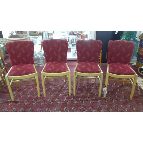 150 - A set of four Art Deco burr walnut dining chairs, with red floral upholstery, on square legs, H86cm,...