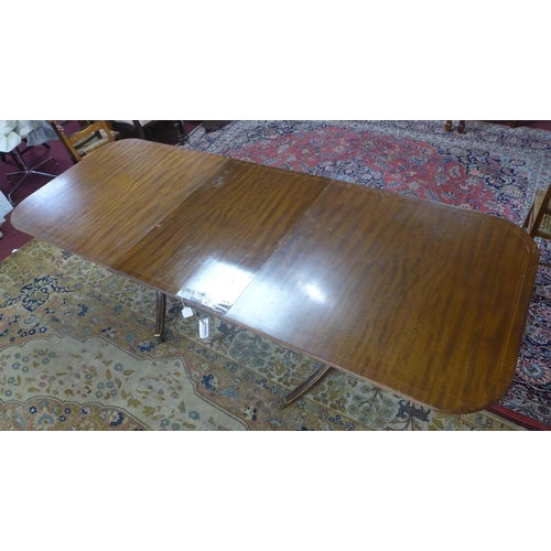 153 - A Regency style mahogany extending D-end dining table, with extra leaf, having two pedestals, raised...