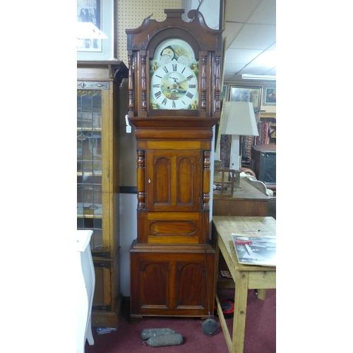 170 - A Victorian mahogany longcase clock, twin train movement, striking bell, with swan neck pediment abo...