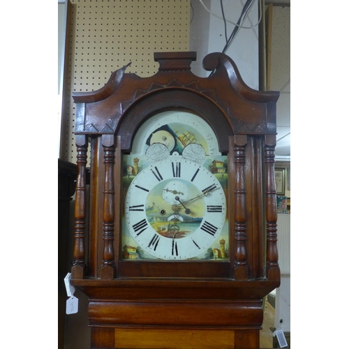 170 - A Victorian mahogany longcase clock, twin train movement, striking bell, with swan neck pediment abo...
