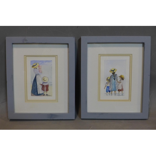 192 - J. Michael Whittaker, two watercolours of children at the beach, signed lower right, each in glazed ...