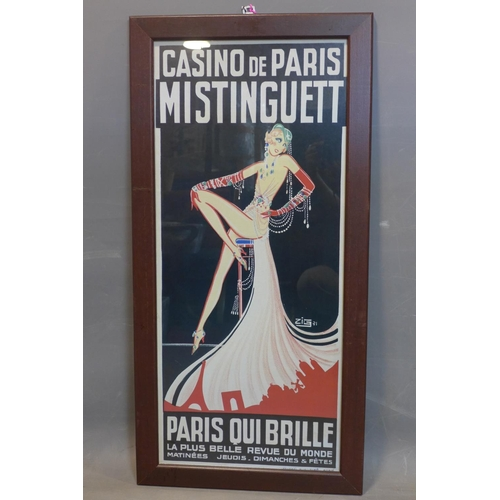 193 - After Zig (Louis Gaudin), a French poster for 'Casino de Paris', framed and glazed, 90 x 39cm...