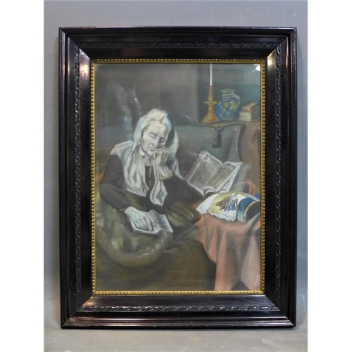 198 - After Jozef Israels, an elderly lady sleeping with book on her lap, pastel, framed and glazed, 69 x ...