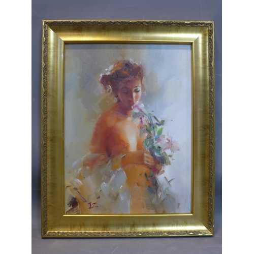 203 - 20th century school, 'Thinking of You...', portrait of a semi-nude lady smelling a bunch of flowers,...