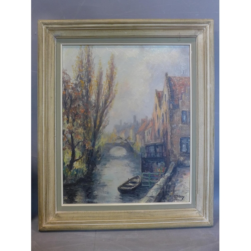 206 - Robert Frenay (1903-1986), View of a River through a Town, oil on board, signed lower right, framed,...