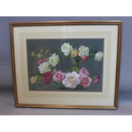 207 - Jack Boulton (fl. 1875-1920), Still life of Roses, gouache, framed and glazed, 37 x 53cm...