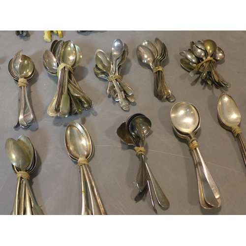 233 - A collection of miscellaneous silver plated and steel, including mother of pearl and bone handled, c...