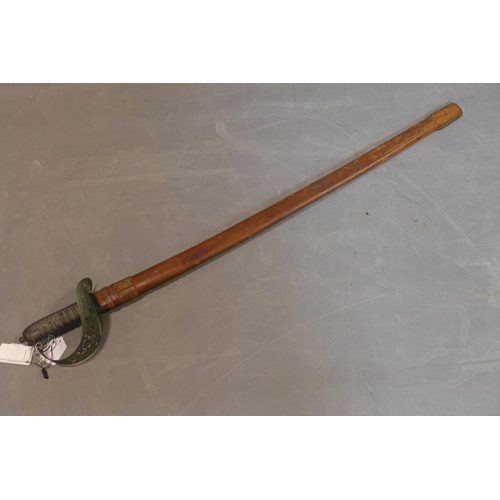 237 - A Cavalry sword with leather scabbard, L 100cm...