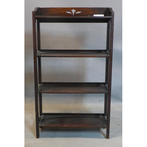 252 - A stained oak open bookcase, on square legs, H.100 D.56 D.20cm...