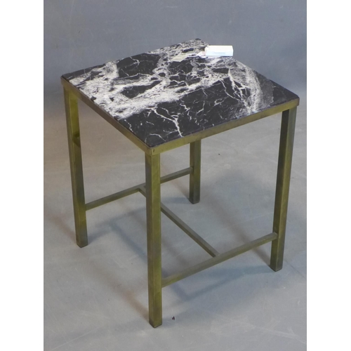 253 - A brass and marble lamp table with label for Maples Depository, on square legs, H.49 W.39 D.38.5cm...