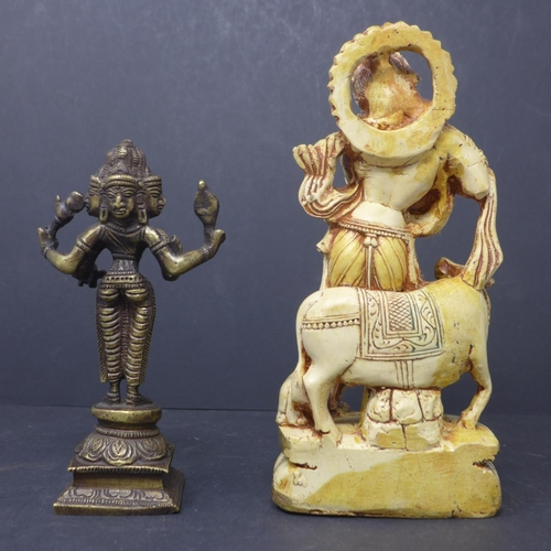 267 - A bronze statue of Hindu deity Brahma, H.16cm, together with a moulded statue of Krishna, H.21cm...