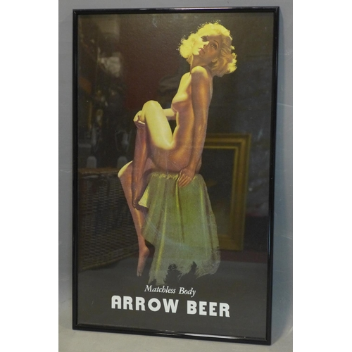 287 - A rare reproduction of Arrow Beer's vintage 'Matchless Body' advertising campaign by pin-up artist E...