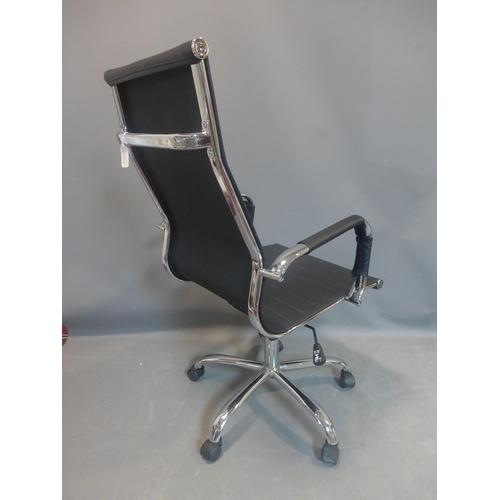 510 - Eames style black leather swivel office chair, H 109cm, W54cm D 58cm...