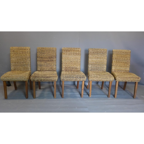 530 - A set of five wicker chairs, on square legs, H97cm, W44cm, D52cm....