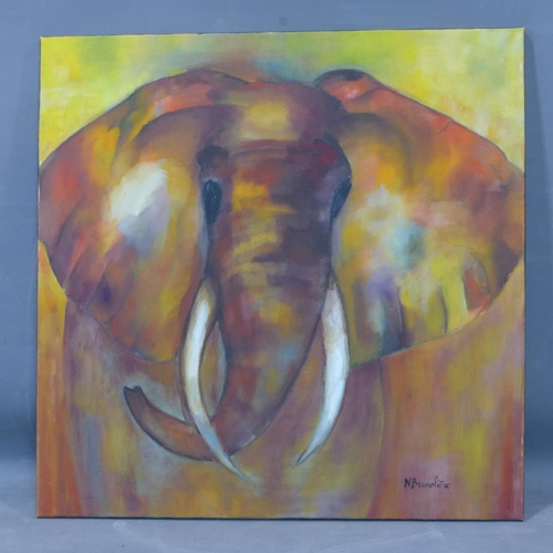 544 - An oil on board of an elephant, signed N. Bruneliere to lower right, 80 x 80cm...