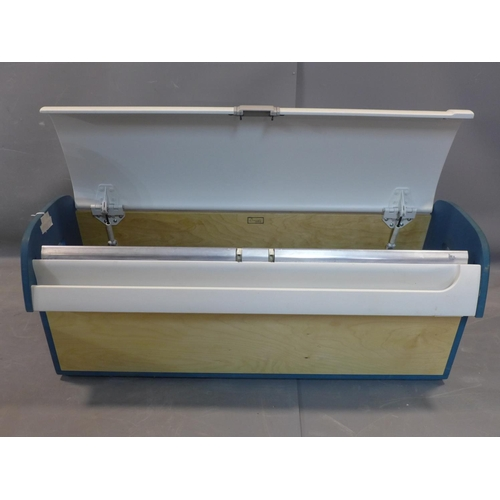 558 - A storage box from a Boeing 737 by Aircraft Workshop, with hinged lid, painted sides and stamped to ...