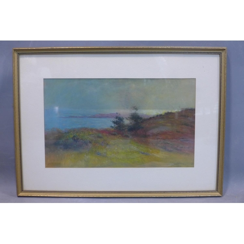 583 - L. D. Norton (20th century British school), Landscape with sea to background, pastel, signed and dat...
