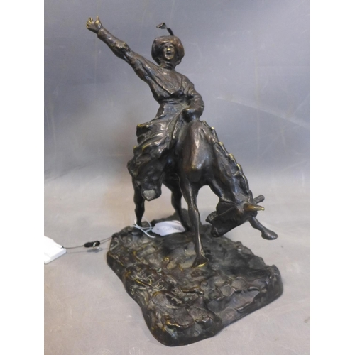 586 - After Paolo Troubetzkoy (1866–1938), bronze statue of a cowboy on horse back, bearing signature and ...