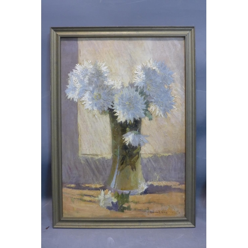 589 - Henri van Os-Delhez (Dutch, 1880-1976), 'Chrysanthemums', oil on canvas, signed lower right, framed,...