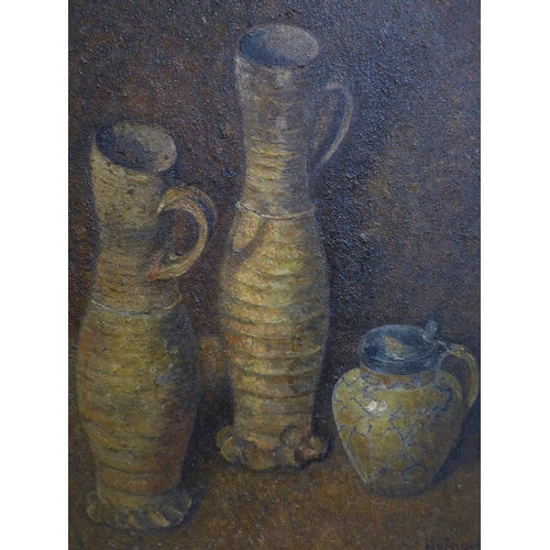 590 - Hendrik van Ingen (Dutch, 1833-1898), Still life of two jugs and a jar, oil on canvas, signed lower ...