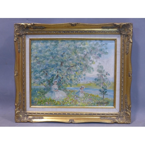 592 - After Louis Soonius, Cueillette de Fleurs' a mother and daughter picking flowers by the river, oil o...