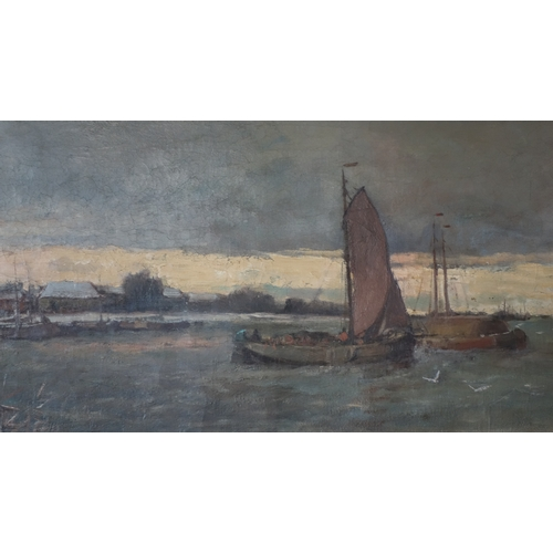208 - Cornelis de Bruin (Dutch, 1870-1940), Fishing Ships by a Quay, oil on canvas, 40 x 80cm...