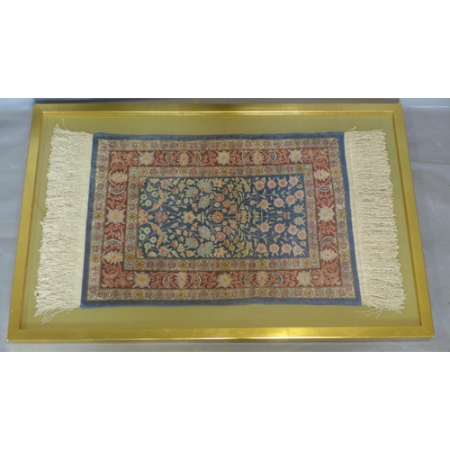547 - A small pure silk William Morris design Persian rug, signed, with all over stylised floral decoratio...