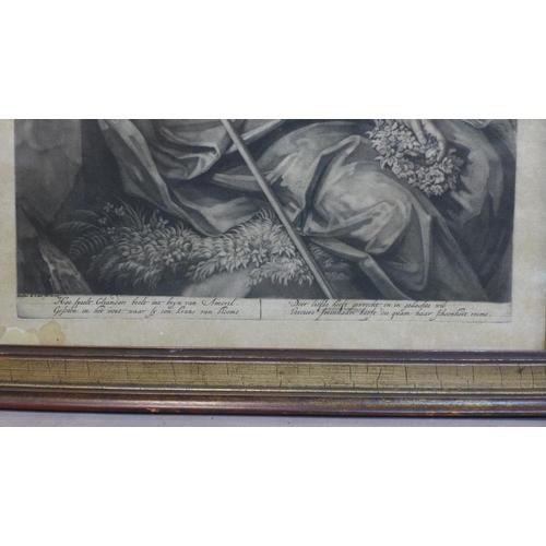 601 - Jacob de Later (printmaker; active c.1680 - 1728), Amoril thinks of Cliander, mezzotint, 44 x 34 cm ...