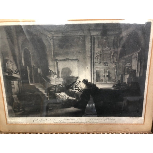 299 - James McArdell (British, 1729 - 1765) after Rembrandt, The Holy Family at Night, mezzotint, framed 6...