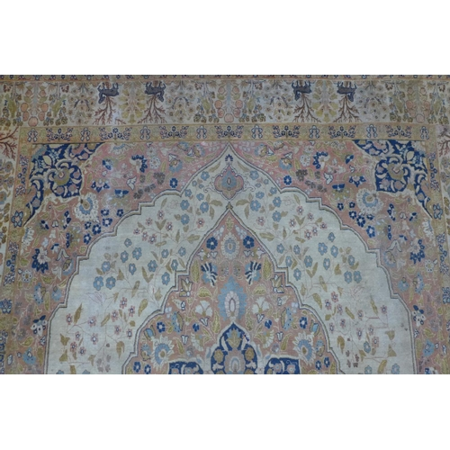 384 - An antique Persian Tabriz Hajili carpet, c.1880's, central floral medallion and petal motifs on a cr...