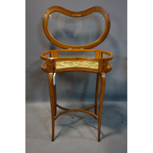 259 - A 19th century inlaid satin wood kidney shaped bijouterie cabinet, raised on splayed legs joined by ...
