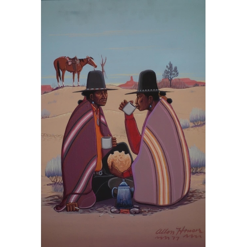 174 - An oil on canvas of two Native American men drinking and eating in the dessert, signed 'Allen Hansen...