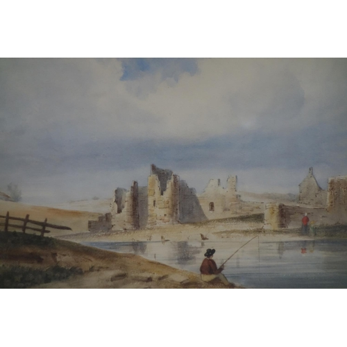 159 - John Varley (1777-1842), 'Ruins and Figure Fishing', watercolour, with labels from the collection of...
