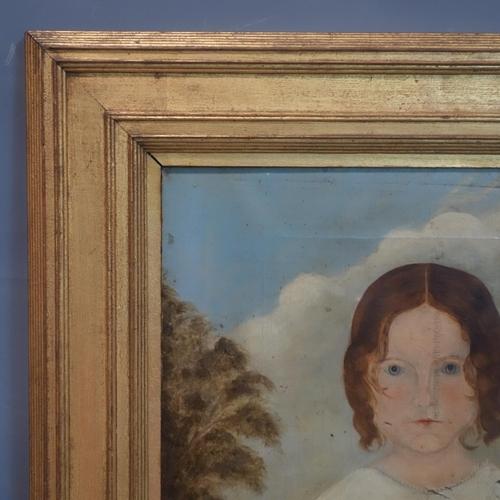 160 - 19th century British folk art, portrait of a child in a rural landscape, unsigned, framed, 85 x 72 c...
