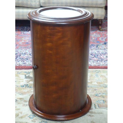 274 - A Victorian mahogany cylindrical plinth cabinet with marble top, H.64 D.40cm...
