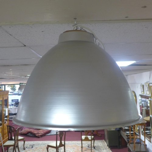 567 - A set of 4 large vintage industrial aluminium light shades, diameter 49 cm...