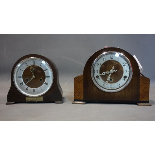 619 - Two mid 20th century Smiths oak mantle clocks, one with Arabic numerals to dial, chiming gong, H.23 ...