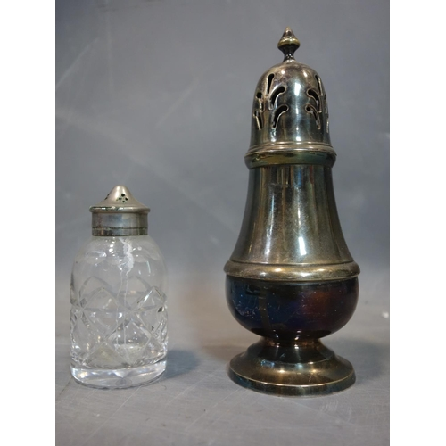 520 - WITHDRAWN- Group of silver plated items including tea pot sugar caster, sugar bowl mill jar three sp...