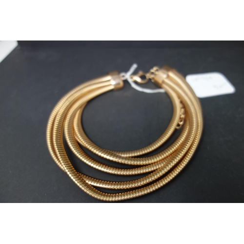 533 - Three Bronzo Italia Multi Layer Tubogas set including bracelet, necklace and cuff in bronze, gold an...