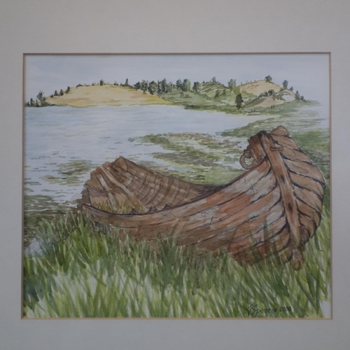 538 - Contemporary British school, abandoned boat, watercolour, signed and date 'J Spencer 2000', 35 x 35 ...