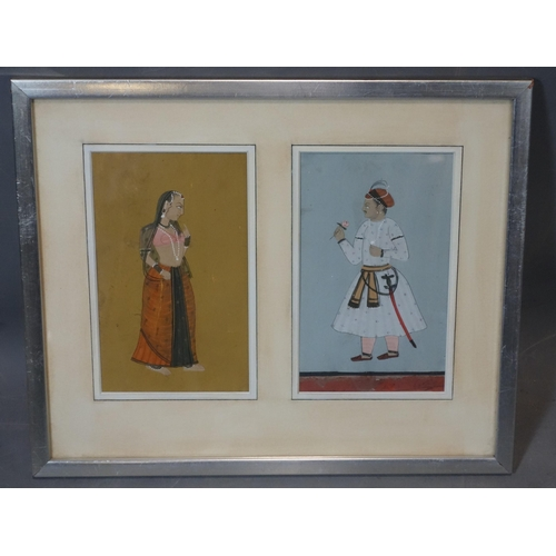 500 - Two Mughal illuminations representing a noble man and woman, framed and glazed, 38 x 31 cm...