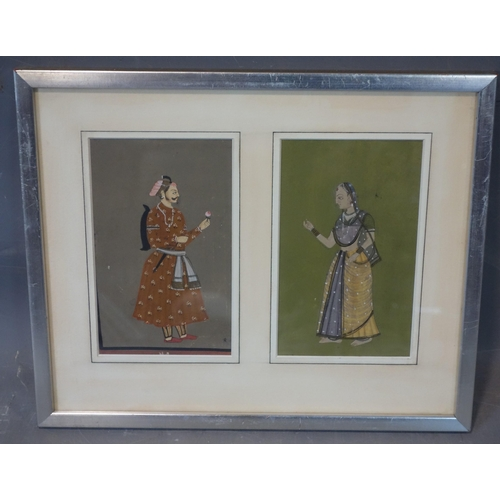 502 - Two Mughal illuminations representing a noble man and woman, framed and glazed,  38 x 31 cm...