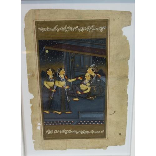 503 - A Persian illuminated manuscript page representing courtesan scene, framed and glazed, 30 x 22 cm...
